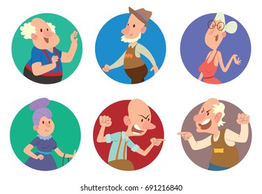 Vector set of round frames with different funny old men and old women in various clothes with different actions and emotions on a white background. Retired, elderly. Vector illustration.