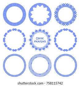Vector set of round frames with native Greek flower and meander patterns. A collection of frames isolated on a white background for decoration and design of plates. Modern Greek traditions patterns