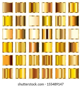 Vector set of round gold gradients buttons.
