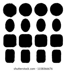 Vector set of round, oval, square, rectangular stickers, labels painted with an ink brush. Black grunge frame with rough edges isolated on white background.A collection of uneven dirty silhouettes