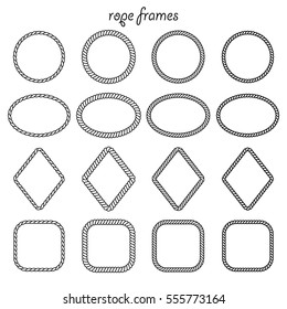 Vector set of round, oval, square and rhombus shape frame from rope isolated on white background. For the design of banners, brochures, cards