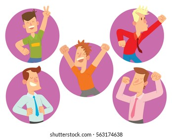 Vector set of round purple frames with cartoon images of happy young men in different clothes smiling in the center on a white background. Happy people. Vector illustration.