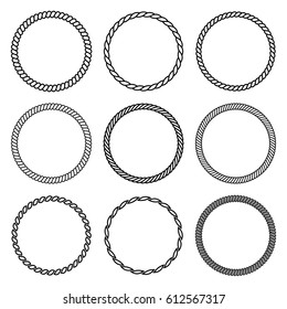 Vector set of round rope frame. Collection of thick and thin circles isolated on the white background consisting of braided cord and string. For decoration and design in marine style.