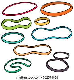 vector set of rubber bands
