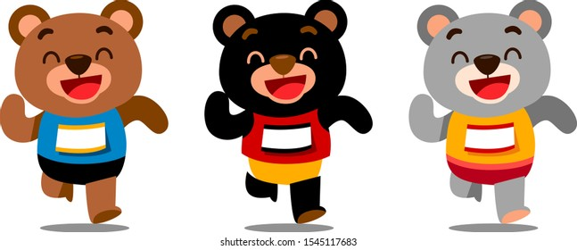 Vector set of runner bear characters running isolated on white background
