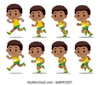 Vector set of running man separated frames isolated on white background.