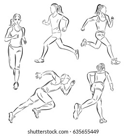 Vector set with running people. Sketch style.