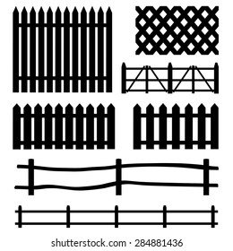 Vector Set of Rural Black Fences Silhouettes