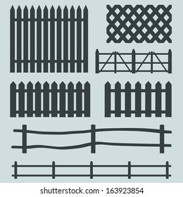 vector set of rural fences silhouettes