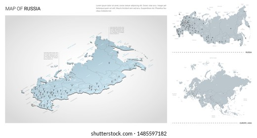Vector set of Russia country.  Isometric 3d map, Russia map, Europe, Asia map - with region, state names and city names.