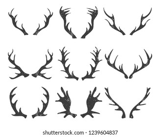 Vector set of rustic horns. Shabby illustration. Decor elements.