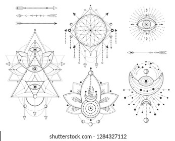 Vector set of Sacred geometric and natural symbols on white background. Abstract mystic signs collection. Black linear shapes. For you design or modern magic craft.