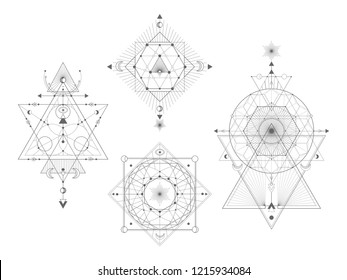 Vector set of Sacred geometric symbols on white background. Abstract mystic signs collection. Black linear shapes. For you design: tattoo, print, posters, t-shirts, textiles.