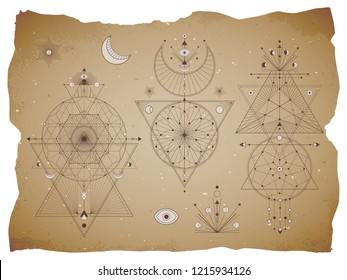 Vector set of Sacred geometric symbols with moon, eye, arrows, dreamcatcher and figures on old paper background with torn edges. Abstract mystic signs collection drawn in lines. For you design.
