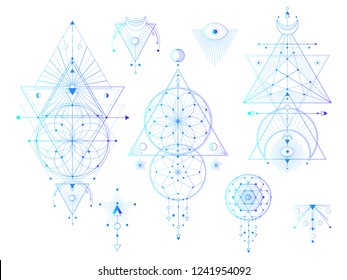 Vector set of Sacred geometric symbols with moon, eye, arrows, dreamcatcher on white background. Abstract mystic signs collection. Colored linear shapes. For you design: tattoo, print, posters.