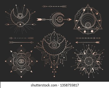 Vector set of Sacred geometric symbols and figures on black background. Gold abstract mystic signs collection drawn in lines. For you design: tattoo, print, posters, t-shirts, textiles and magic craft