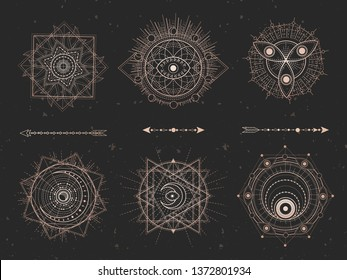 Vector set of Sacred geometric symbols on black grunge background. Gold abstract mystic signs collection drawn in lines. For you design: tattoo, print, posters, t shirts, textiles and magic craft.