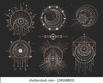 Vector set of Sacred geometric symbols and half moon on black grunge background. Gold abstract mystic signs collection drawn in lines. For you design and magic craft.