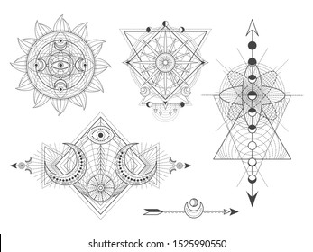 Vector set of Sacred geometric symbols and figures on white background. Abstract mystic signs collection. Black linear shapes. For you design: tattoo, posters, t-shirts, textiles or magic craft.