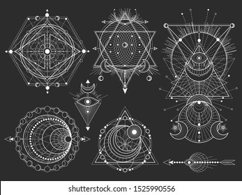 Vector set of Sacred geometric symbols and figures on black background. Abstract mystic signs collection. White linear shapes. For you design: tattoo, posters, t-shirts, textilesor magic craft.