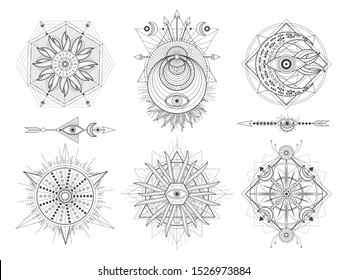 Vector set of Sacred geometric symbols and figures on white background. Abstract mystic signs collection. Black linear shapes. For you design: tattoo, posters, t-shirts, textiles.