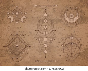 Vector set of Sacred symbols with moon, arrows and geometric figures on old paper background. Abstract mystic signs collection drawn in lines. Image in sepia color.