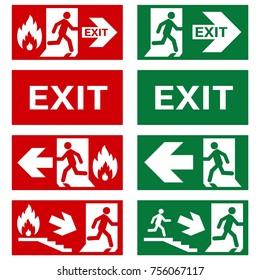 VECTOR. Set of safety signs. Exit sign. Emergency fire exit door and exit door. The icons with a white sign on a green / red background. Public information label. Illustration.