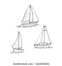 Vector set sailing yachts on sea waves. Water transport for travel, recreation and sports. Collection of black line sketch illustrations isolated on white background