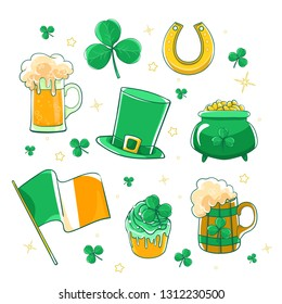 Vector set Saint Patricks Day. Green silk hat, flag Ireland, pot of gold coins, shamrocks, horseshoe and beer stein.