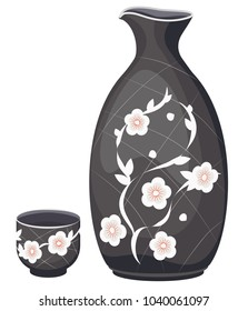 Vector set for sake of a jug and a cup. On a transparent background