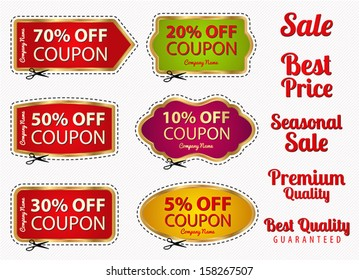 Vector set: Sale Coupon, labels (banner, tag) white template (vector design, layout) with blank frame, dotted line (dash line), red percent, scissors (cut off, cutting). Save money, get discount