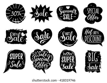 Vector set of Sale lettering in comic speech bubbles. Discount cards collection: Special Offer etc. Hand drawn illustrations of labels and logos.