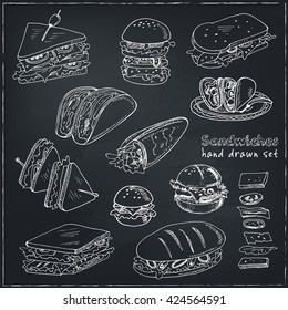 Vector Set of sandwiches. Club sandwich cheeseburger hamburger deli wrap roll taco baguette bagel toast. Illustration for menus, recipes and packages product