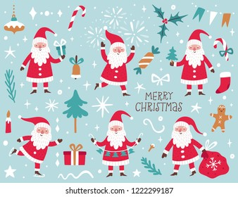 Vector set with Santa Claus and Christmas elements. Winter cartoon characters. Decorative elements for Christmas and New Year greeting cards.