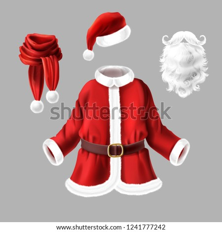 ca3001eaf9f44 Vector set with Santa Claus costume for fancy dress party isolated on gray  background. Traditional Christmas clothes and accessories for masquerade