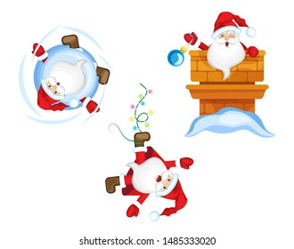 Vector set Santa Claus in different positions. Transparent background
