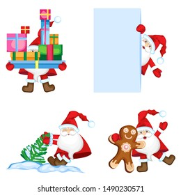 Vector set Santa Claus in different situations. Transparent background