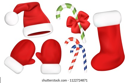 Vector set with Santa costume elements and Christmas decorations. Santa's red hat, mittens, socks and candy cane with red bow. Realistic 3d objects.