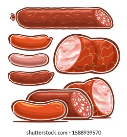 Vector set of Sausages, collection of cut out illustrations many types of delicatessen sausages and cartoon frankfurters for hot dog, isolated on white background.