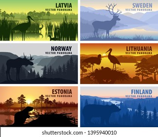 Vector set of Scandinavia and Baltic countries illustrations - Sweden, Lithuania, Finland, Latvia, Norway, Estonia
