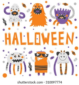vector set of scary but cute halloween monsters with toothy smiles funny colorful characters