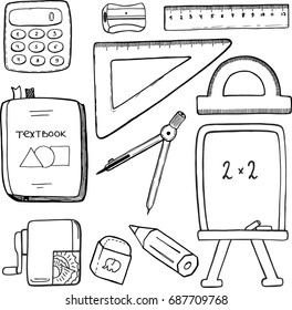 Vector set, school stationary equipment for mathematics learning, hand drawn sketch of schoolbag stuff - textbook, compasses, pencil, ruler, rubber, sharpener. Back to school theme. Flat lay style.
