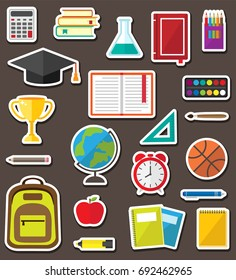 Vector set of school stationery stickers. Education symbols and supplies icons
