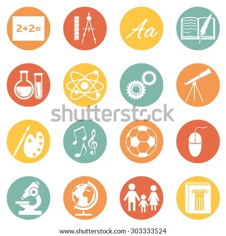 vector set school subjects icons のベクター画像素材 ロイヤリティ