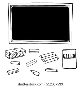 Vector set of school supplies. Blackboard, chalk of different shapes, cleaning sponge and chalk box. Ink silhouettes