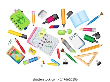 Vector set of school supplies on a transparent background.