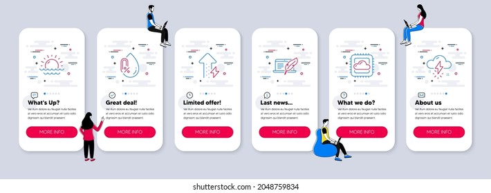 Vector Set of Science icons related to No alcohol, Cloud computing and Copyright laptop icons. UI phone app screens with teamwork. Sunset, Energy growing and Thunderstorm weather line symbols. Vector