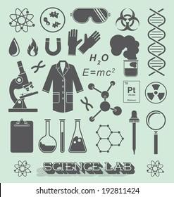 Vector Set: Scientist Lab Icon and Symbols