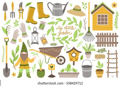 "Vector set of scrapbook elements: house, gardening tools, plants and flowers, decoration and cartoon character gnome. Vintage collection ""My little garden"". All elements are isolated on white."