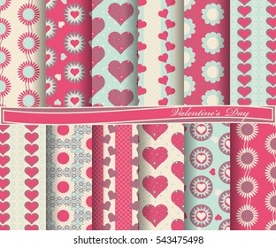 Vector set of scrapbook paper for Valentine's Day. Decorative flowers, heart, abstract forms